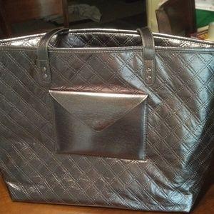 🆕 NWT Bath & Body Works Silver Metalic Tote Bag